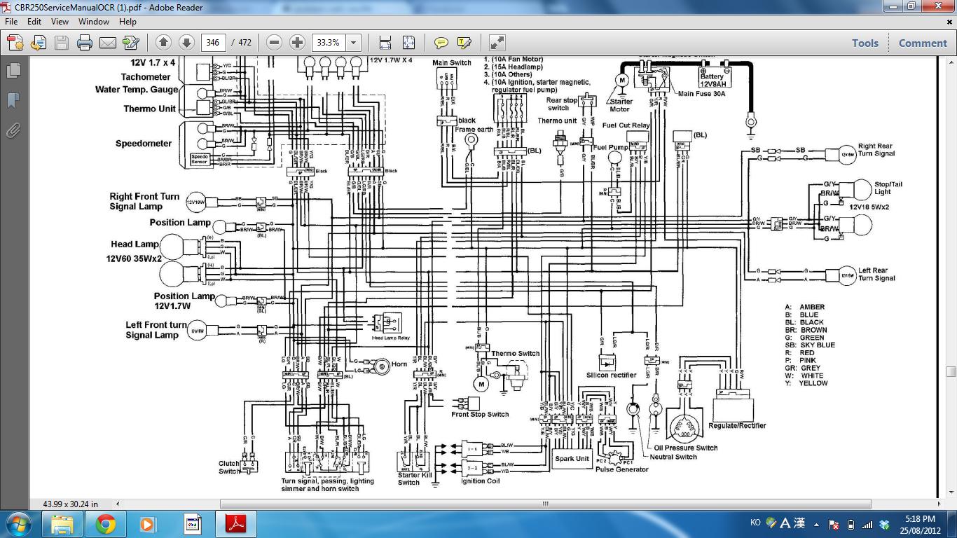 problem with cbr250r 92 96 Honda Civic Alternater Wiring Schematics 2012 Honda Cbr250ra Wiring Diagram #1